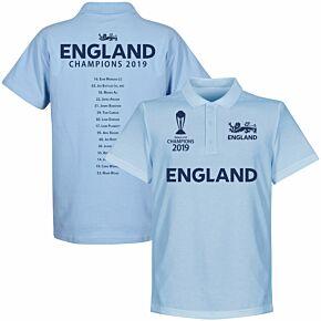 England Cricket World Cup Winners Squad Polo Shirt - Sky