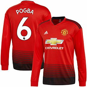 Manchester United Home L/S Pogba 6 Jersey 2018 / 2019 (Authentic EPL Printing)