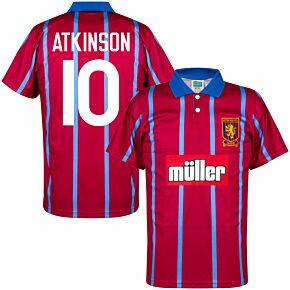 93-94 Aston Villa Home Retro Shirt + Atkinson 10 (Retro Flock Printing)