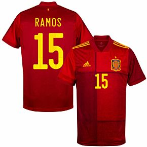 20-21 Spain Home Shirt + Ramos 15