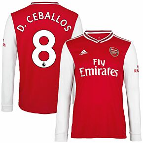adidas Arsenal Home L/S D. Ceballos 8 Jersey 2019-2020 (Official Premier League Printing)