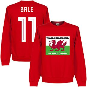Wales, Golf, Madrid in that  Order Bale 11 Sweatshirt -  red