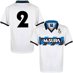 1990 Inter Milan Away Retro Shirt + No.2 (Retro Flock Printing)
