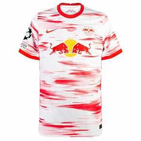 21-22 RB Leipzig Home Shirt + UCL Starball + UEFA Foundation Patch Set
