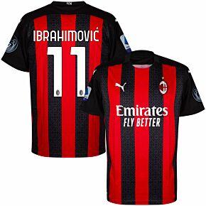 20-21 AC Milan Home Shirt + Ibrahimovic 11 + Serie A + UCL 7 Times Patch Set