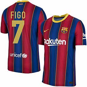 20-21 Barcelona Vapor Match Home Shirt + Figo 7 (Retro Fan Style)