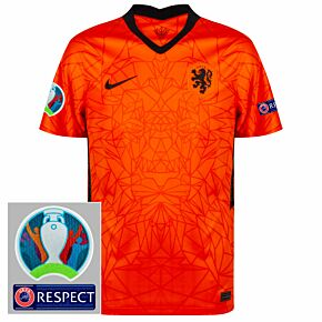 20-21 Holland Home Shirt + Official Euro 2020 + Respect Patch