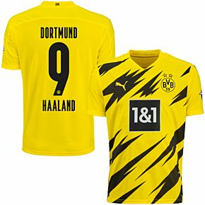 20-21 Borussia Dortmund Home KIDS Shirt + Haaland 9 (Official Printing)