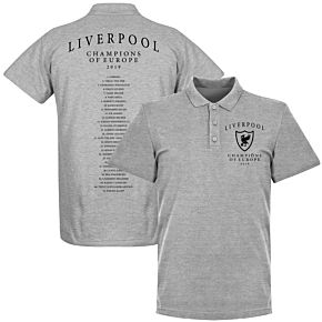 Liverpool Crest Champions of Europe Squad Polo Shirt - Grey