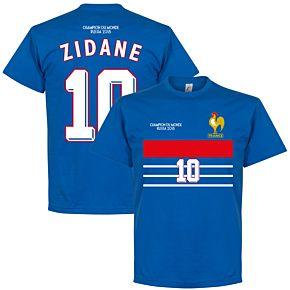 France Champions 98 Zidane 10 Retro Tee - Royal