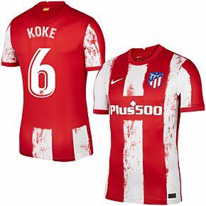 21-22 Atletico Madrid Home Shirt + Koke 6 (Official Printing)