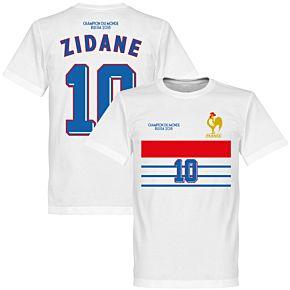 France Champions 98 Zidane 10 Retro Tee - White