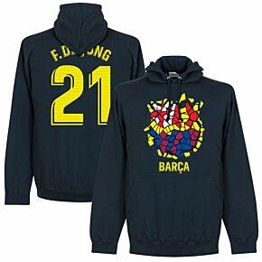 Barcelona F. De Jong 21 Gaudi Crest Hoodie - Navy