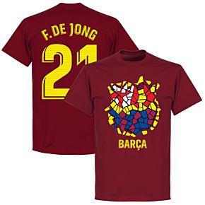 Barcelona F. De Jong 21 Gaudi Crest Tee - Chilli