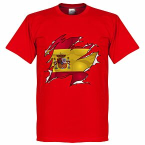 Spain Ripped Flag Tee - Red