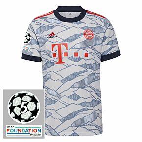 21-22 Bayern Munich 3rd Shirt + UCL Starball 5 Times Winner Patches