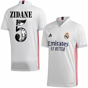 20-21 Real Madrid Home Shirt + Zidane 5 (Gallery Style)