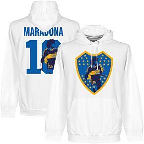 Maradona 10 Boca Crest Hoodie - White