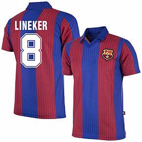 86-89 Barcelona Home Retro Shirt + Lineker 8 (Retro Flock Printing)