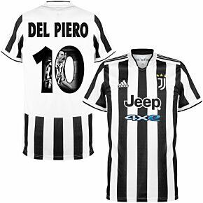 21-22 Juventus Home Shirt + Del Piero 10 (Gallery Style)