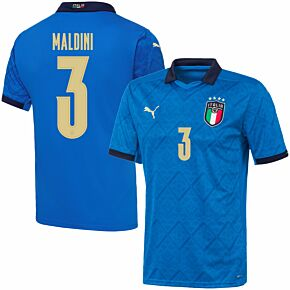 20-21 Italy Home Shirt + Maldini 3 (Official Printing)