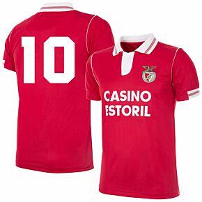 92-93 Benfica Home Retro Shirt + No.10 (Retro Flock Printing)