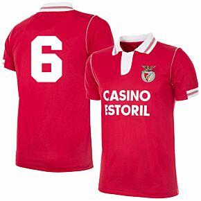 92-93 Benfica Home Retro Shirt + No.6 (Retro Flock Printing)