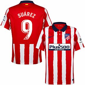 20-21 Atletico Madrid Home Shirt + Suárez 9 (Official Printing)