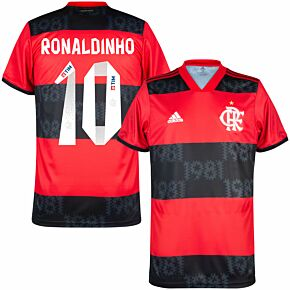 2021 Flamengo Home Shirt + Ronaldinho 10 (Fan Style Printing)