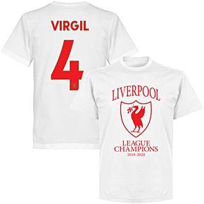 Liverpool 2020 League Champions Crest Virgil 4 T-shirt - White