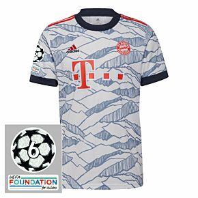 21-22 Bayern Munich 3rd Shirt + UCL Starball 6 Times Winner Patches