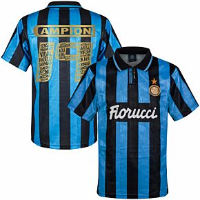1992 Inter Milan Away Retro Shirt + Campioni 19 Squad Printing