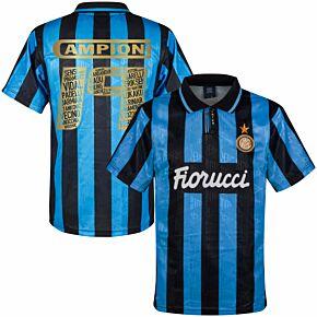 1992 Inter Milan Away Retro Shirt + Campioni 19 Squad Printing