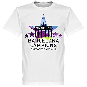 2015 Barcelona 5 Star European Winners Kids Tee - White