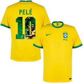 20-21 Brazil Home Shirt + Pelé 10 (Gallery Style Printing)