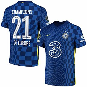 21-22 Chelsea Dri-Fit ADV Match Home Shirt + Champions of Europe 21 Printing Bundle