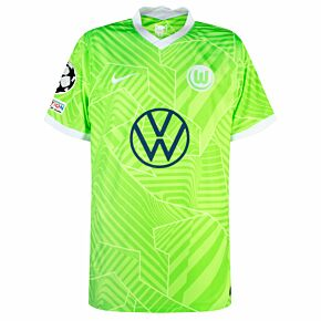 21-22 VFL Wolfsburg Home Shirt + UCL Starball + UEFA Foundation Patch Set