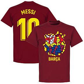 Barcelona Messi 10 Gaudi Crest Tee - Chilli