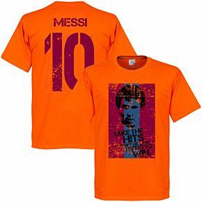 Messi 10 Barcelona Flag Tee - Orange