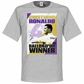 Ronaldo 4 Times Ballon d'Or Winners Madrid Tee - Grey