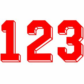 Retro Shadow Style Red Numbers