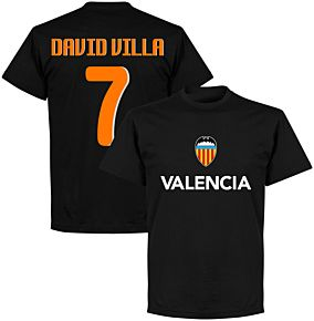 Valencia David Villa 7 Team T-shirt - Black