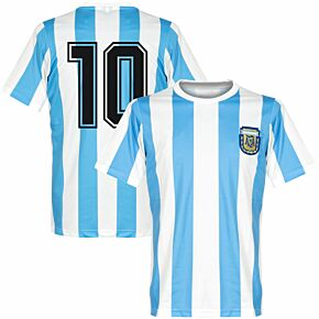1986 Argentina Home Retro Shirt + No. 10