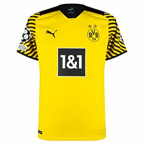 21-22 Borussia Dortmund Authentic Home Shirt + UCL Starball + UEFA Foundation Patches
