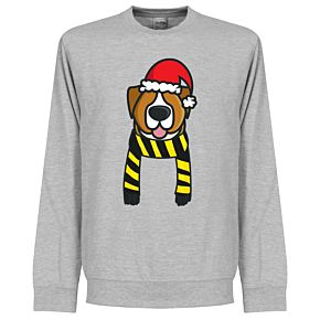 Christmas Dog Supporter KIDS Sweatshirt - (Grey/Black/Yellow)