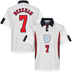 1998 England Home World Cup Finals Retro Shirt + Beckham 7 (Retro Flex Printing)