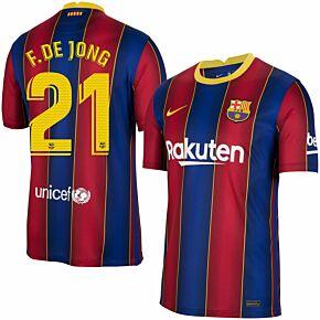 20-21 Barcelona Home Shirt + F.De Jong 21 (Match Pro Printing)