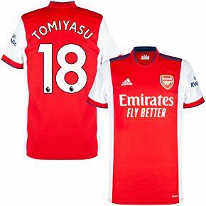 21-22 Arsenal Home Shirt + Tomiyasu 18 (Premier League)