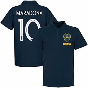 Boca CABJ Crest Maradona 10 Polo - Navy (19-20 Style Back Print)