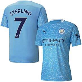 20-21 Man City Home Shirt + Stirling 7 (Premier League)